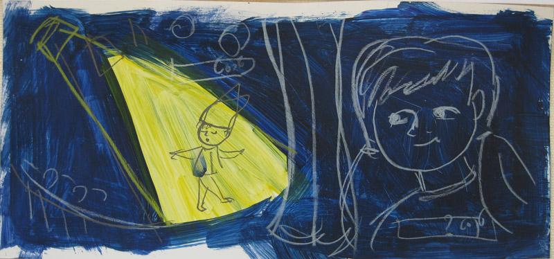 סקיצות קטנות בצבע הילדה צופה בגמד