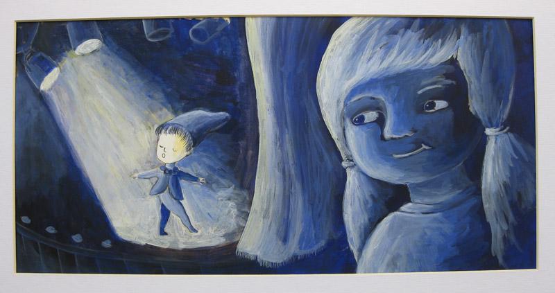 איור בגירסה 1 הילדה צופה בגמד מופיע