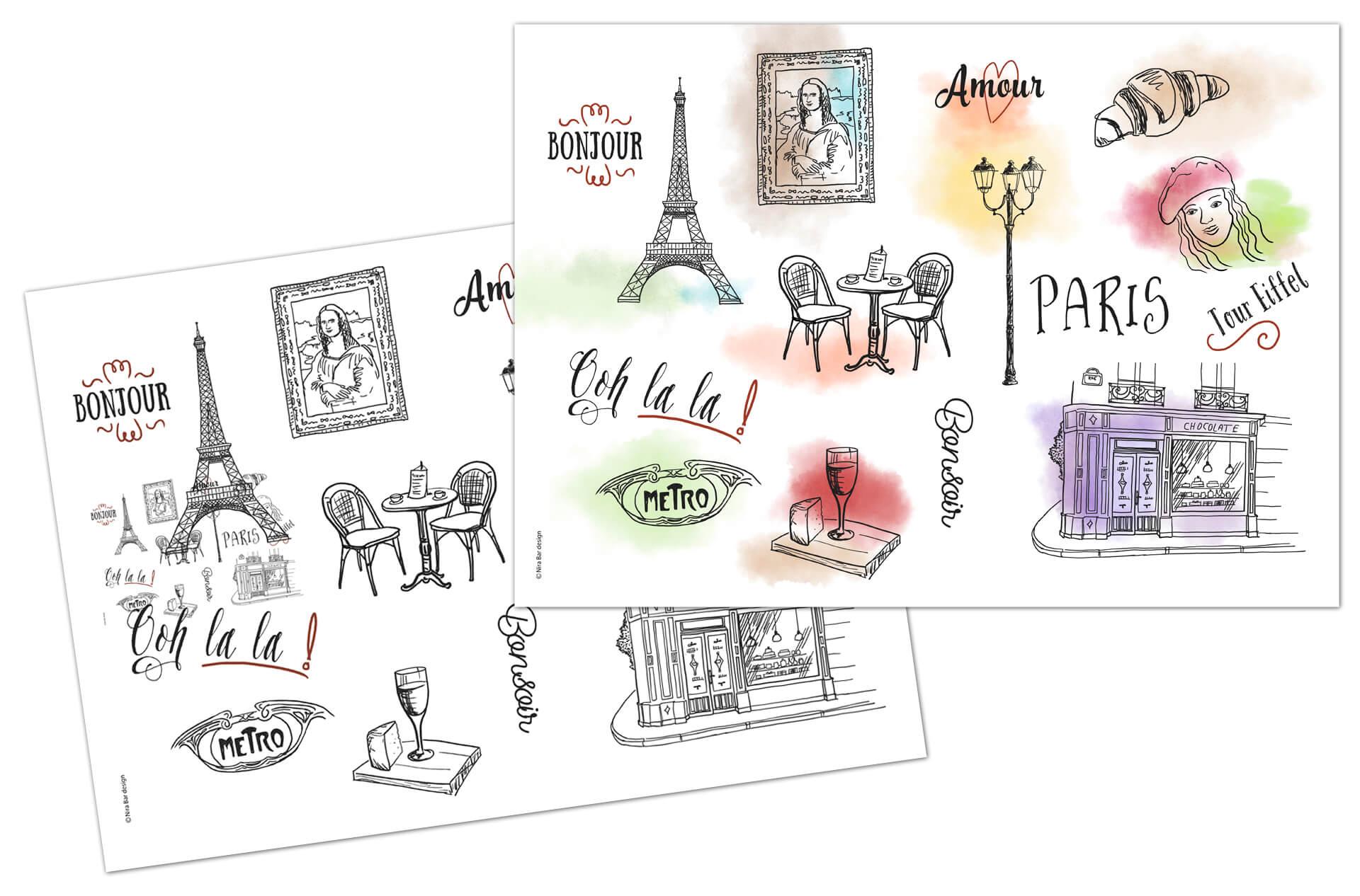 פלייסמטים מאויירים העיר פריז